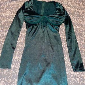 Green silk dress. Above knee length